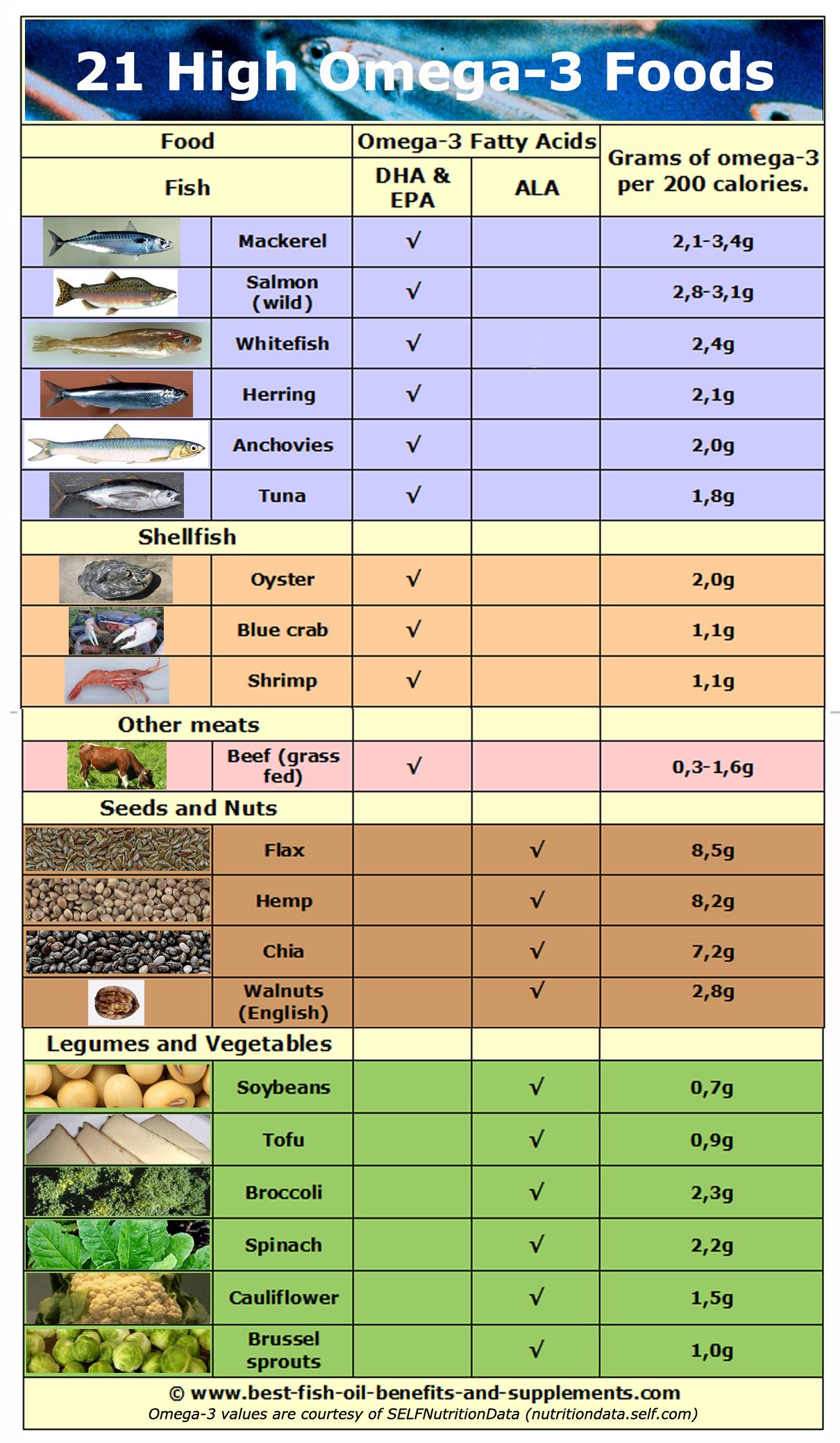 21 rich omega-3 foods chart showing grams of omega-3 per 200 calorie serving.