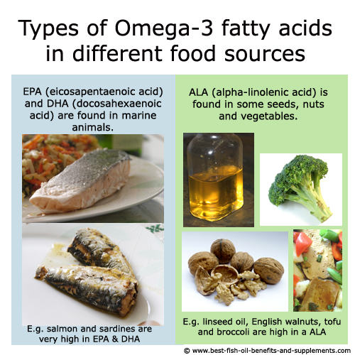 Types of omega-3 (EPA, DHA, ALA) in different food sources.